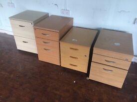 Pedestal filing storage cabinets - wood or metal various sizes