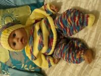 """HAND KNITTED CLOTHES TO FIT 19"""" BABY ANNABELL BOY OR GIRL HAT TROUSERS JUMPER BOOTS SORRY NO DOLL"""