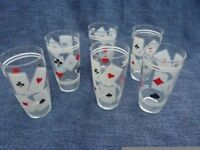 Water or Beer Glasses, retro, with playing card motifs