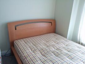 Double beech effect bed and mattress