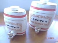 2 x Whisky Barrels in Ceramic Finish by Gilbey Ltd. Royal Victoria Pottery