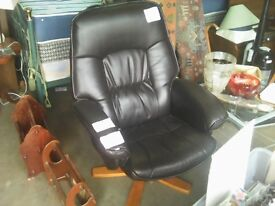 black, leather office/study chair