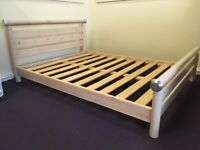 Solid Wood Slatted Double Bed