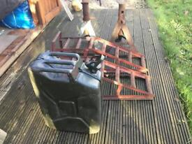 Axle stands, ramps and Jerry can