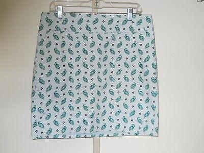 Ann Taylor Mini Paisley Printed Cotton Twill Skirt Light Aqua Green 10 NWT