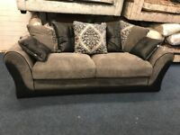 LITTLEWOODS ELLIOT GREY BLACK FABRIC 3 AND 2 SEATER SOFA SET CLOTH THREE PLUS TWO SCATTER PILLOW