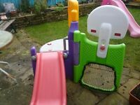 Little Tykes climbing frame with slide, goals Basketball net. good condition