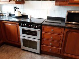 Oak L shaped kitchen includes: tall fridge/freezer unit, sink and unit, 2x wall units and more