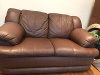 Brown leather 2 seater and 2 arm chairs