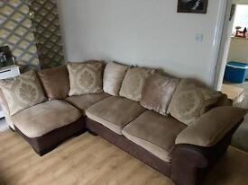 DFS Corner Sofa With Armchair And Large Pouffe