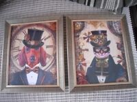 2 NEW STEAMPUNK STYLE DOG AND CAT PRINTS IN BRONZE/GOLD GLASS FRAMES 12 INCHES BY 10 INCHES