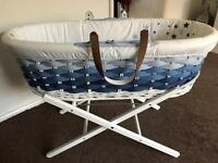 Two mothercare ombré Moses baskets and stands