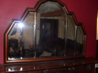 MAHOGANY MANTLE BEVELLED MIRROR 43INS LONG BY 31INS HIGH