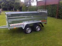 NEW Car trailers 8,7'x4,1' 1,3 twin axle,double broadside and ramp £ 1150 inc vat