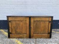 Vintage Solid Wood Cabinet with Metal Handles