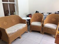 Wicker furniture set - sofa and two chairs