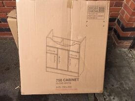 Brand new white gloss bathroom cabinet from Victorian Plumbing 750 x 330 x 781 mm
