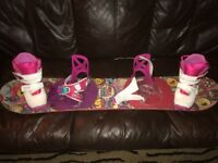 Burton size 1 boots , bindings and board
