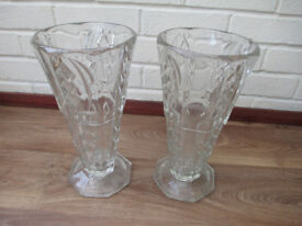 Pair Two Matching Vintage Heavy Large Patterned Glass Vases 12.5 Inches High 6.5 Inches Diameter