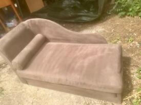 Chocolate Chaise Longue/ converts to bed