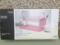 NEXT dish drainer with attachment for utensils Pink in colour never been used still boxed New.