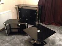 Black Glass Coffee table, tv stand and cabinet