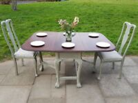 Rustic drop leaf dining table + 2 Queen Anne chairs. Shabby chic distressed. LOCAL DELIVERY.