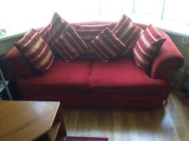 2 seater fabric sofa bed in red