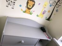 Like new cot bed and matching drawers.