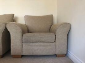 2 Beige Cushioned Arm Chairs
