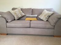 Nearly new modern grey sofa and air chair. Bought from Cookes in Christchurch