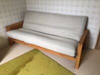 Pristine 3 seater Oak frame Futon Company sofa bed with original mattress!