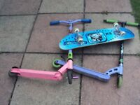 scooters and skateboard