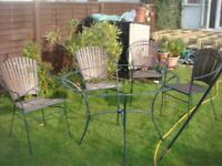 4 chairs and table for garden