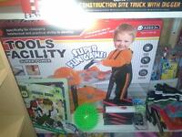 new toy tool trolley with hard hat and tools