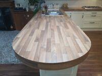 Walnut Laminated Double Thickness Kitchen Worktop