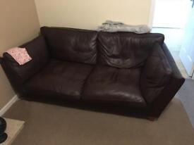 Dark Brown Leather Sofa Can Be Corner With Chaise Lounge