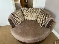 Sofa, Swivel Chair and Storage Footstall