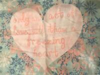 "Never used Elsa and Anna ""listen to your heart""single quilt cover and pillowcase"
