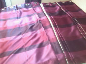 """X2 PAIR PURPLE CURTAINS ..RING TOP .. LINED SIZE APPROX 46"""" WIDE X 54"""" DROP"""