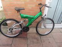 mens duel susspension mountain bike 19inch frame with lock £45.00