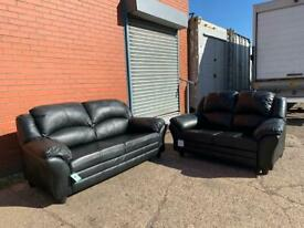 Black leather sofas 3&2 delivery 🚚 suite couch furniture
