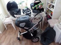 BLACK QUINNY BUZZ TRAVEL SYSTEM : PUSHCHAIR / CARRY COT / MAXI COSI CARSEAT / ISOFIX BASE / EXTRAS