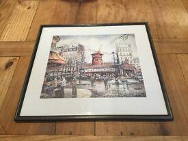 Large framed signed brunet print moulin rouge