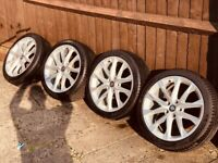 """Genuine 18"""" Seat Alloy Wheels With Tyres. *Mint* Condition. Fits VW, Audi, Skoda"""