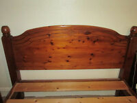 Stained pine double bed frame