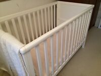 Mothercare white cot and mattress - excellent condition