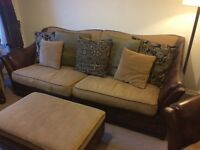 Leather and Upholstered Scatterback Large Sofa, 2 Armchairs and Storage Footstool
