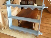 Wooden painted plate wall unit, painted in blue. A really solid ready to hang unit. 102.5 length.