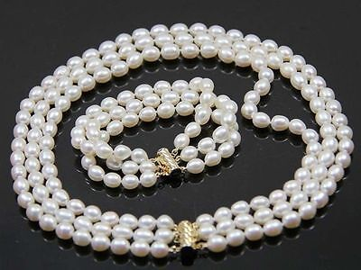 beautiful 3 Rows 7-8mm Natural White Freshwater Oval Pearl Necklace Bracelet Set 8mm White Pearl Necklace Bracelet